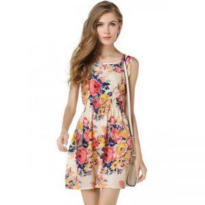 bohemian-floral-leopard-sleeveless-dress