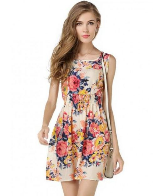 bohemian-floral-leopard-sleeveless-dress
