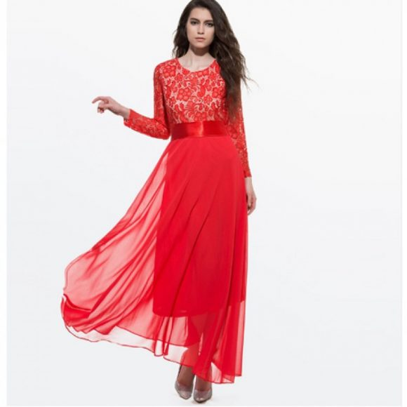 long-sleeve-dress-red