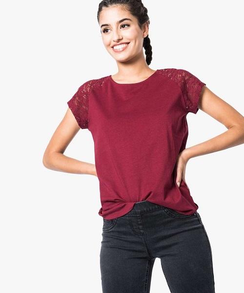 Femme Vêtements Grande taille Tshirt col rond manches courtes avec tulle et dentelle marron