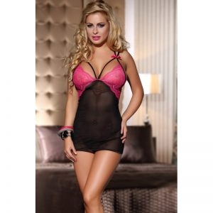 2 pcs mesh & lace babydoll with bow detail include thong
