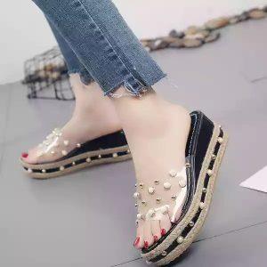 Transparent-black-sliper-sandal