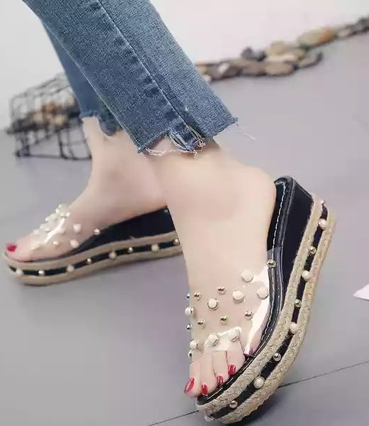 Transparent-black-sliper-sandal