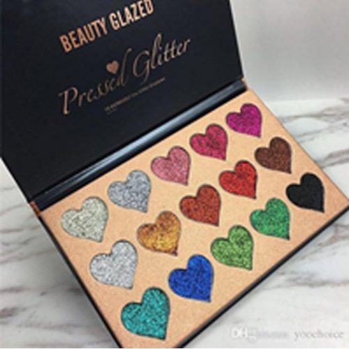 Beauty Glazed 15 Colors Heart shape Pressed Glitter Eye shadow Palette - 150gm - TSH1082