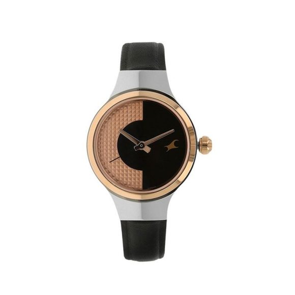 Fastrack Black Leather Analogue Watch for Women